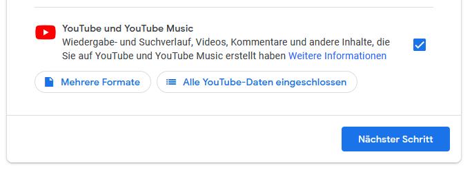 Schritt 5: Alle YouTube Videos auf einmal über den Google Datenexport downloaden