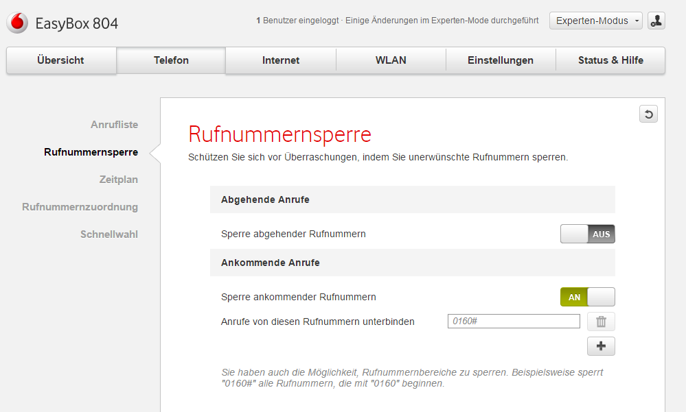 Vodafone EasyBox 804: Telefonnummer sperren/blockieren ...