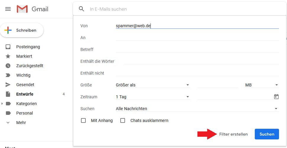 Schritt 2: Filter erstellen für E-Mail Adresse des Ansenders