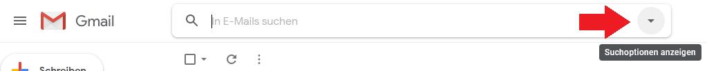 Schritt 1: In Gmail einloggen und Suchoptionen öffnen
