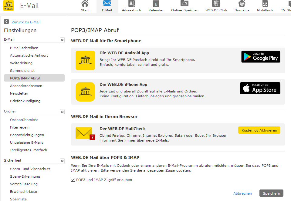 Schritt 3: IMAP bei web.de aktivieren