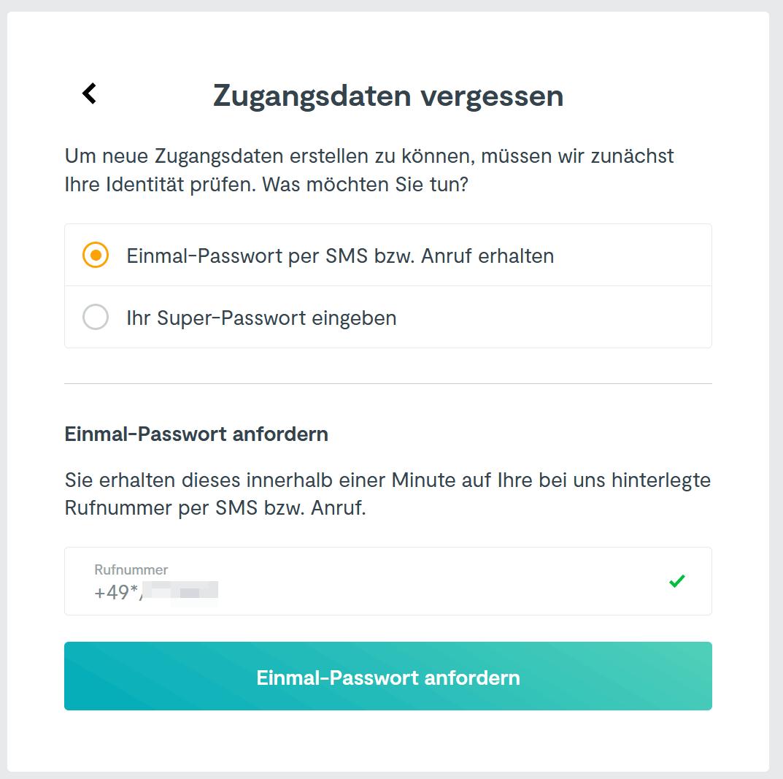 HUK24 Einmal-Passwort per SMS anfordern