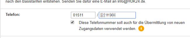 Abbildung 4: Vergessene Zugangsdaten an Telefonnummer senden