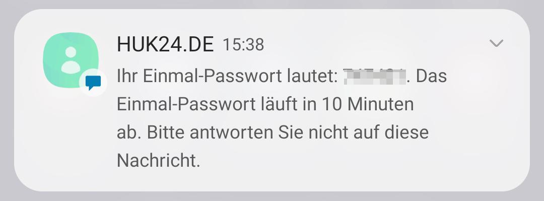 HUK24 Einmal-Passwort per SMS