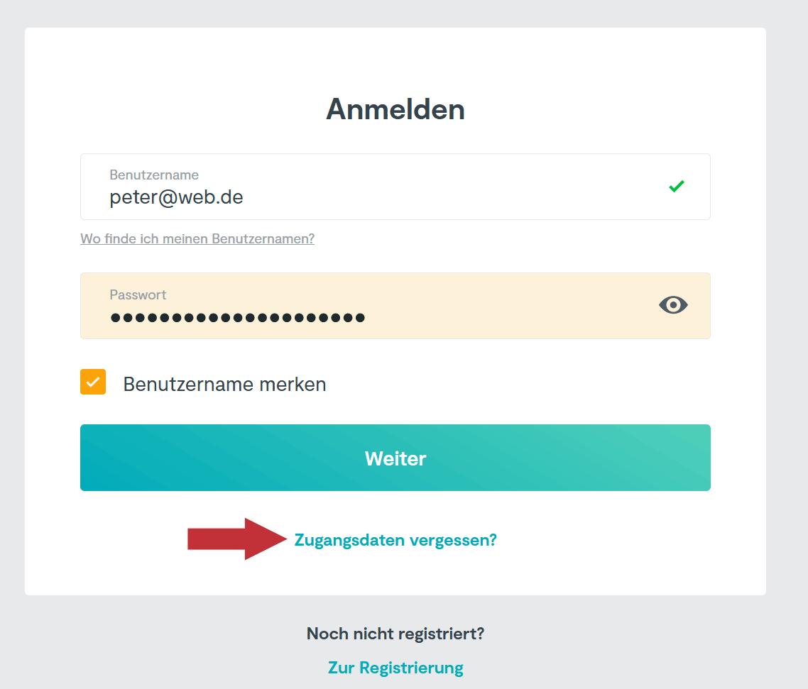 HUK24 Passwort vergessen