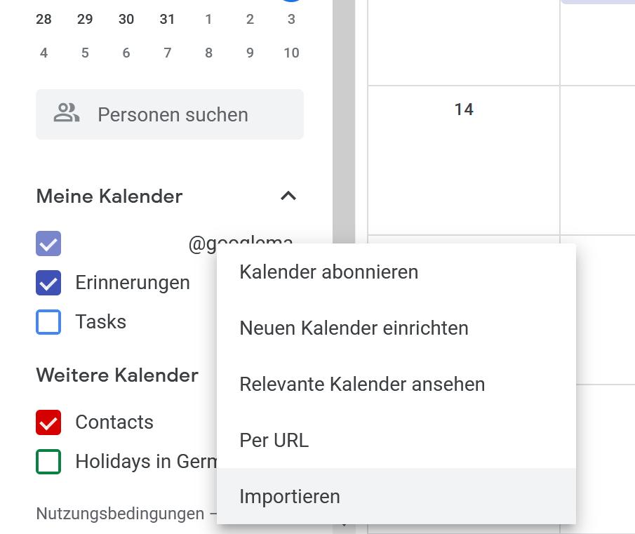 Schritt 2: ics Datei in Google Kalender importieren