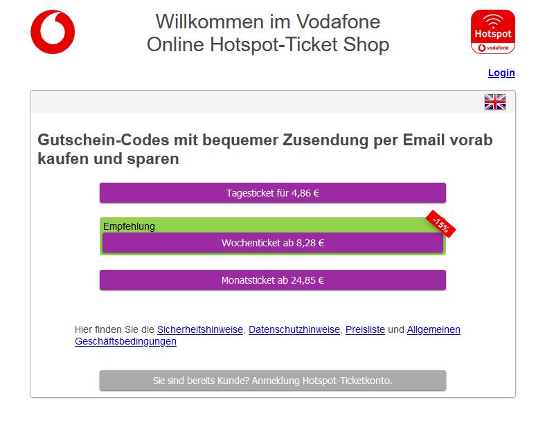 Die Auswahl an Hotspot Tickets für nicht Vodafone Kunden ist angemessen und die Bezahlung unkompliziert