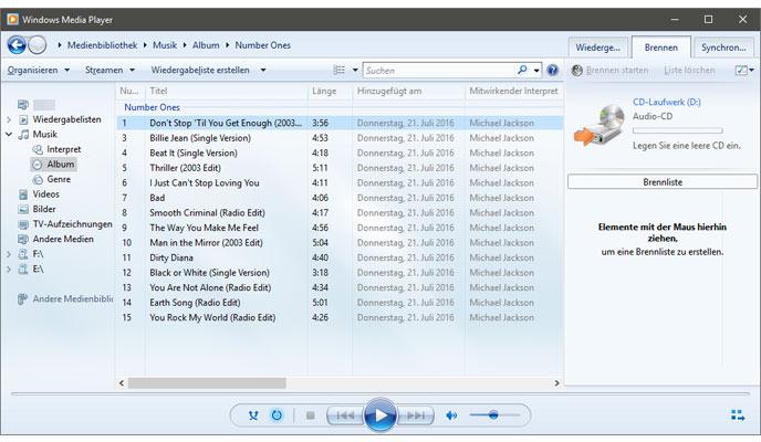 musik oder daten cd dvd in windows 10 brennen ohne. Black Bedroom Furniture Sets. Home Design Ideas